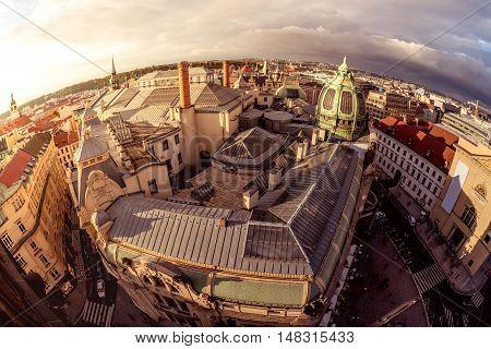 High angle view of the narrow street and Obecni Dum (Municipal House). Prague Czech Republic.