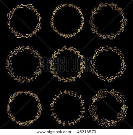 Set of gold wreaths, laurels and branches on dark background, vector illustration. Vector golden wreath. vintage wreath set.