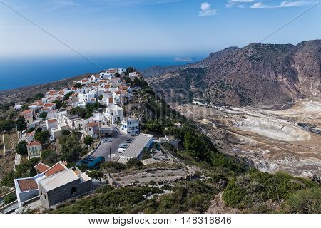 Panoramic view of the active volcano and the village of Nikia in Nisyros island, Greece