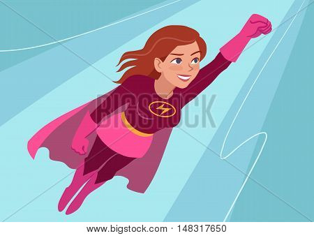 Vector hand drawn cartoon character illustration of a young Caucasian woman wearing superhero costume with cape flying through air in superhero pose on aqua background. Flat contemporary style.