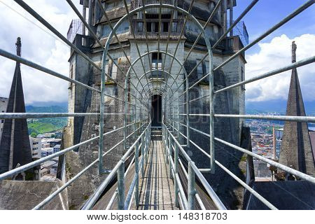 Walkway on top of the Basilica in Manizales Colombia