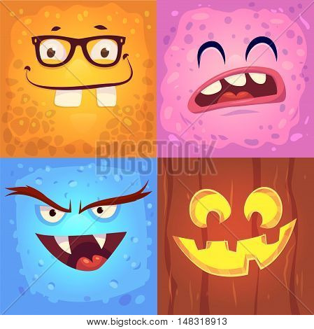 Cartoon monster faces vector set. Cute square avatars and icons. Halloween illustration. Halloween cardposter. Vector stock illustration.