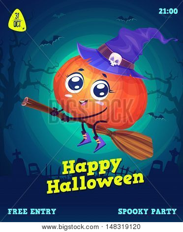 Halloween illustration pumpkin witch flying on a broomstick. Vector set of happy halloween vintage stock illustration.