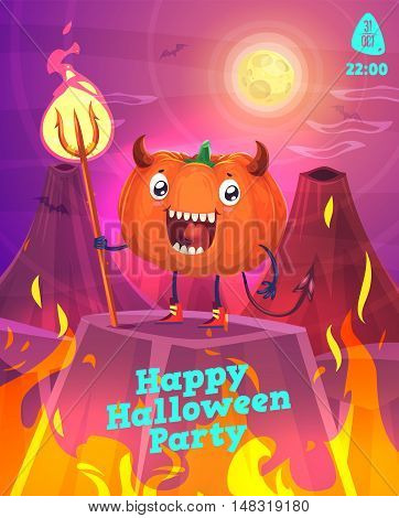 Halloween illustration pumpkin devil is in hell with a trident. Vector set of happy halloween vintage stock illustration.
