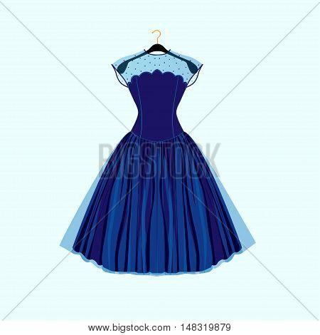 Blue retro style dress. Vector fashion illustration.Prom dress.