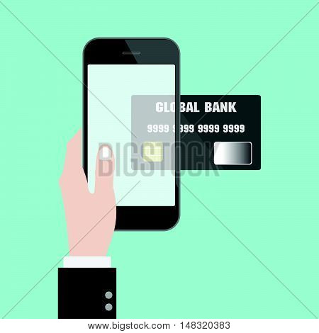 Money transfer with hand credit card and smart phone. online shopping. mobile banking. Flat design business financial online marketing banking commerce vector concept cartoon illustration.