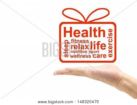 Concept or conceptual abstract word gift box with man hand metaphor to health nutrition wellness fitness sport heart relax exercise life care