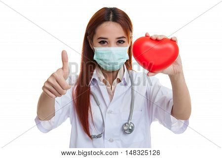 Young Asian Female Doctor With Red Heart.