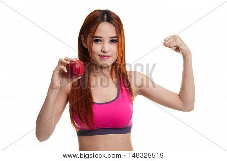 Beautiful Asian Healthy Girl  Flexing Biceps With Red Apple.