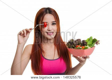 Beautiful Asian Healthy Girl Enjoy Eating  Salad.