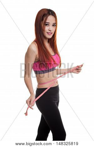 Beautiful Asian Healthy Girl Measuring Her Waist.