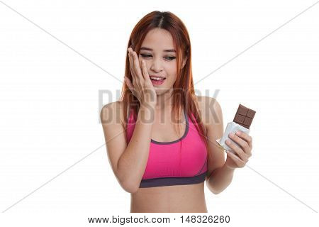 Beautiful  Healthy Asian Girl Very Happy With Chocolate.
