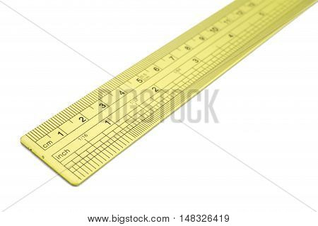 The metal ruler isolated on white background