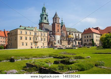 View of the Wawel Royal Archcathedral Basilica of Saints Stanislaus and Wenceslaus and Wawel castle on the Wawel Hill, Krakow, Poland.