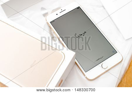 PARIS FRANCE - SEP 16 2016: New Apple iPhone 7 Plus unboxing in the first day of sales - Hello in arabic on first run. New Apple iPhone acclaims to become the most popular smart phone in the world in 2016