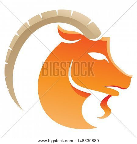 Illustration of Capricorn Zodiac Star Sign isolated on a white background