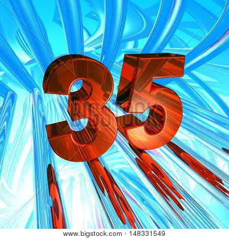 number thirty five in abstract space - 3d illustration