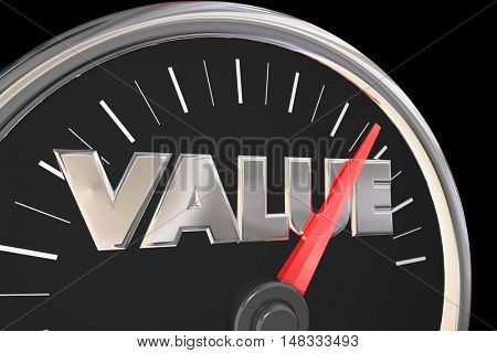 Value Quality Price Best Deal Word Speedometer 3d Illustration