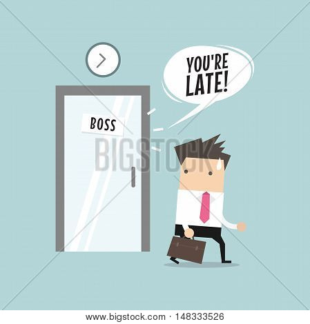 Businessman working late. Walking through the boss room and was warned by boss. vector