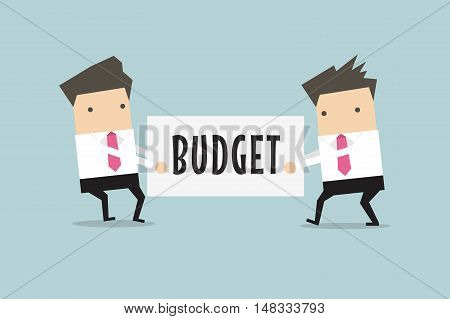 Two businessmen are pulling the budget to each other. vector