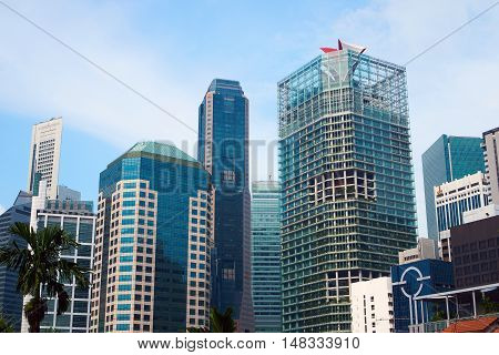 singapore, singapore - september 10, 2016: View of the downtown core of Singapore (Central Business District) and the Singapore skyline.