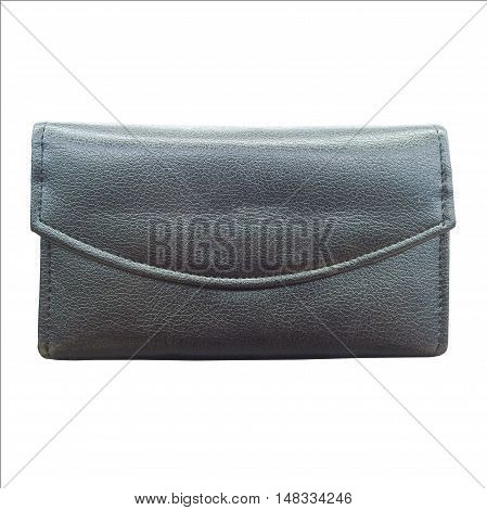 Women black wallet isolated on white background