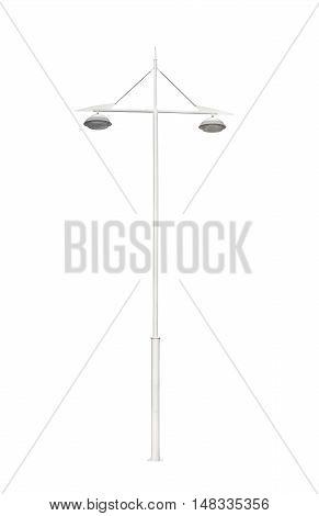 metallic street lamppost isolated on white background