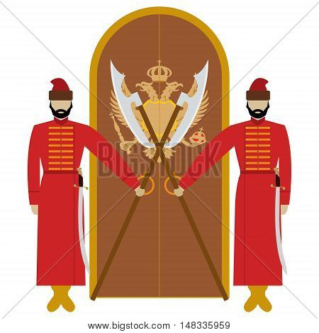 Archers in tsarist Russia with weapons guarding the doors. The illustration on a white background.