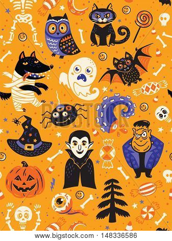 Cute cartoon Halloween seamless pattern with yellow background. Pumpkin, ghost, bat, candy and owl, cat, wolf, spider, skeleton. Can be used like pattern for wrapping paper, textile, greeting cards and party invitations