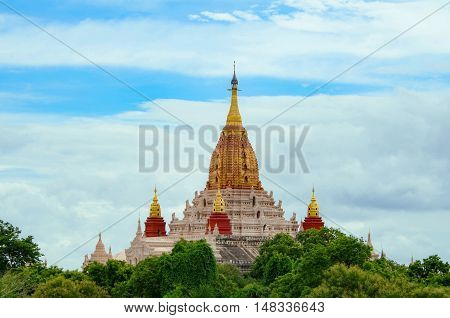The Ananda Temple located in Bagan Myanmar. Is a Buddhist temple built in 1105 AD during the reign (1084 - 1113) of King Kyanzittha of the Pagan Dynasty.