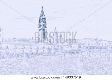 Piazza di San Marco view on Piazza di San Marco from a boat. Many moorings are visible on the water. Painting of travel scene, pencil outlines of background.