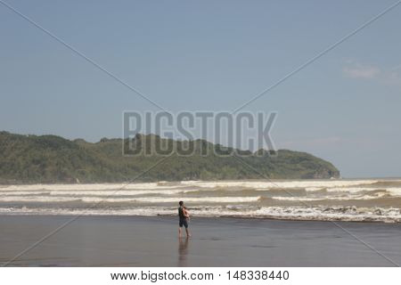 Fiew waves of jetis beach at kebumen central java indonesia
