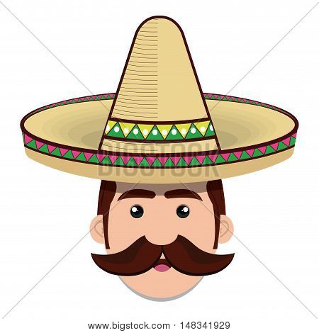 face man mexican hat and moustache graphic vector illustration eps 10