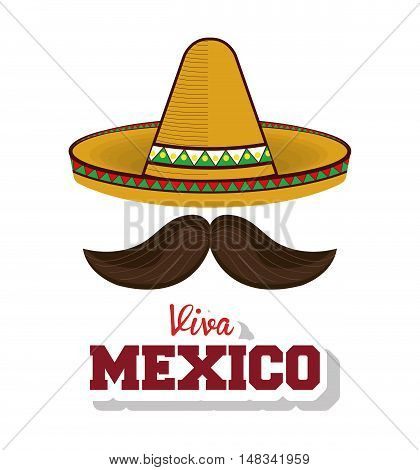 hat and moustache mexican symbol viva mexico vector illustration eps 10