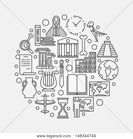 History outline illustration - vector circular concept sign made with linear history icons