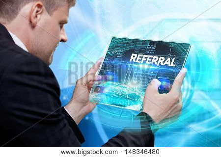 Business, Technology, Internet And Network Concept . Young Business Man Working On The Tablet Of The