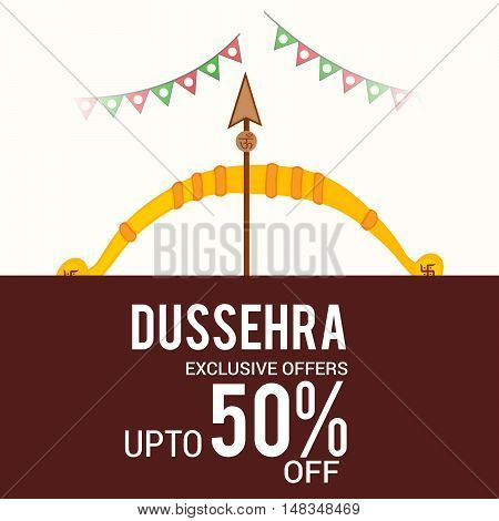 illustration of Creative Offer banner or poster of dussehra with Bow and Arrow.