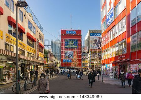 Tokyo Japan - January 24 2016: Akihabara district in Tokyo Japan.The district is a major shopping area for electronic computer anime games and otaku goods.