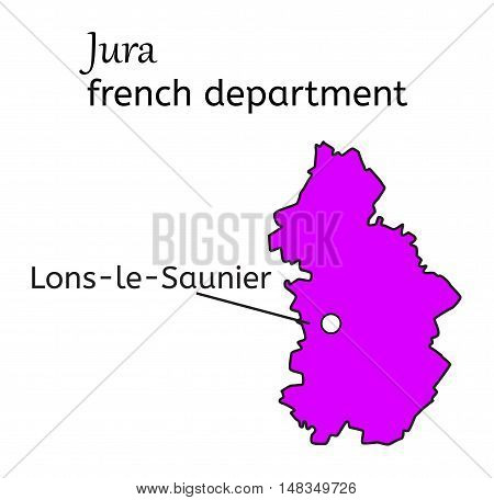 Jura french department map on white in vector
