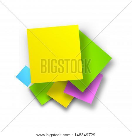 Vector colored postit background isolated in white