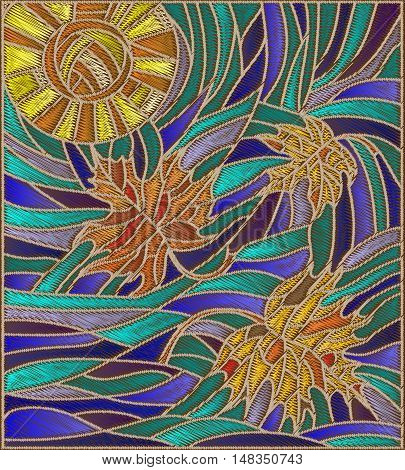 Illustration with maple leaves on background of sunny autumn sky stylized embroidery thread