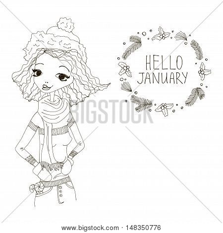 Hello January Black and White Illustration with a Hello January Typography Lettering, Winter Holiday Wreath and a Fashion Girl. Artistic Fashion Hello January Vector Illustration for Print, Blogging