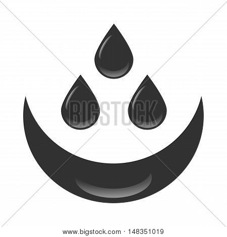 Petroleum oil drops with reflection on a whit background