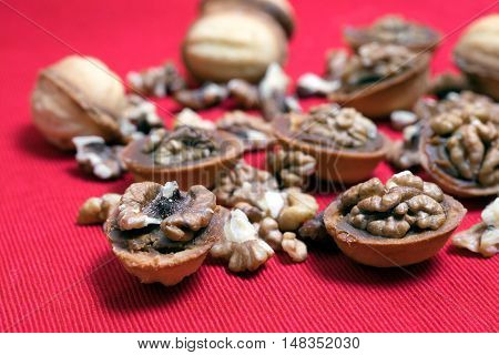 Cookies Nuts And Walnuts On A Red Background