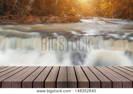 Beautiful Waterfall With Wooden Planks Can Be Used For Display Or Montage Your Products.
