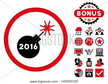 2016 Petard icon with bonus pictogram. Vector illustration style is flat iconic bicolor symbols intensive red and black colors white background.