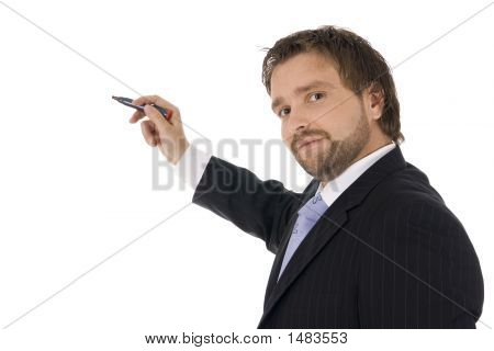 Young Businessman Is Drawing A Graph / Chart