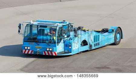 Amsterdam, The Netherlands - July 19: Large Klm Aircraft Tug At Schiphol In Amsterdam On July 19, 20