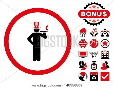 American Capitalist icon with bonus design elements. Vector illustration style is flat iconic bicolor symbols intensive red and black colors white background.