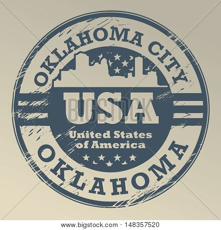 Grunge rubber stamp with name of Oklahoma, Oklahoma City, vector illustration